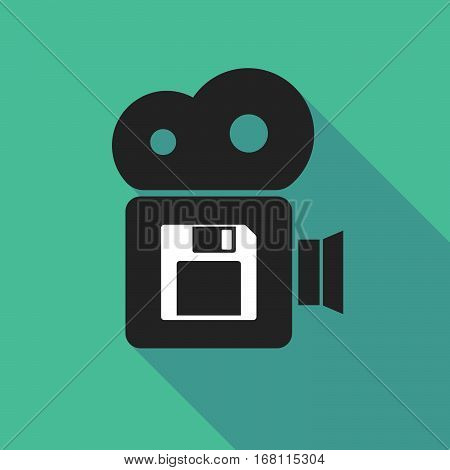 Long Shadow Cinema Camera With A Floppy Disk