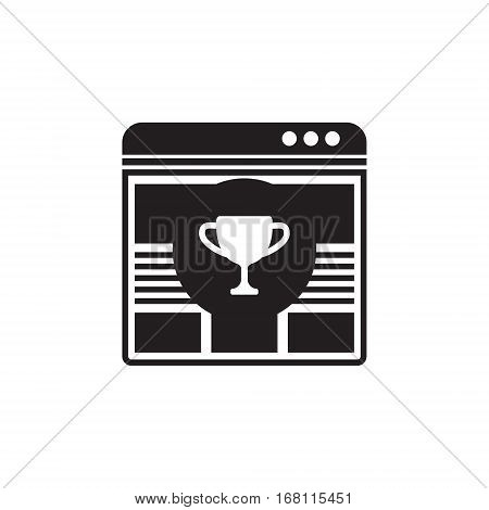 Vector icon or illustration showing web site seo ranking with bowl in circle in one balck color
