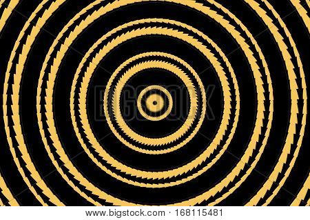 Illustration of abstract orange and black concentric circles