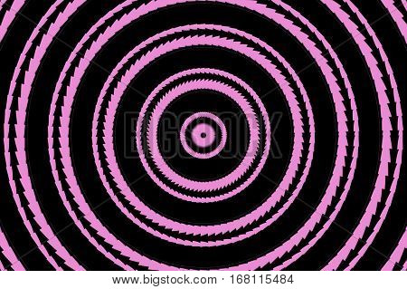 Illustration of abstract pink and black concentric circles