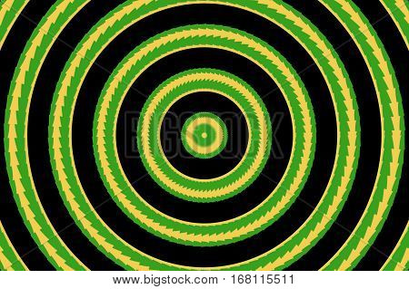Illustration of abstract yellow and green concentric circles