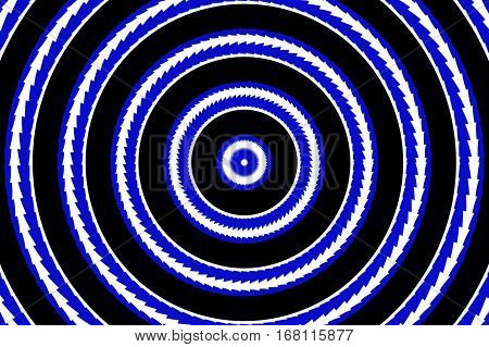 Illustration of abstract blue and white concentric circles