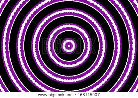 Illustration of abstract purple and white concentric circles