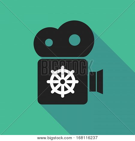 Long Shadow Cinema Camera With A Dharma Chakra Sign