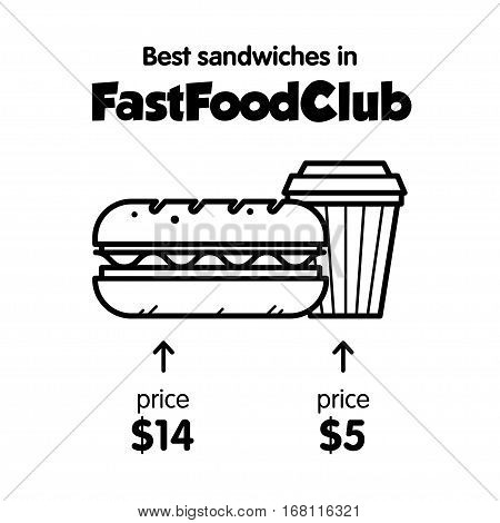 Vector template for promotion Fast Food's cafe. With sandwich and coffee. With price.