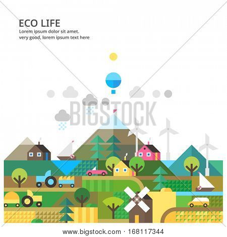 Landscape with ecology concept. Environmental ecosystem in rural areas.Transport and nature ecology element. Farmhouse and agriculture.