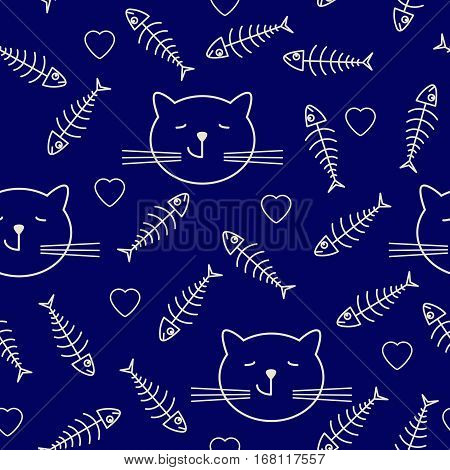 Funny cartoon cats hearts and fish bones. Seamless pattern kids style. Vector illustration I love fish