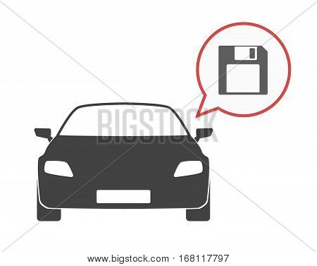 Isolated Car With A Floppy Disk