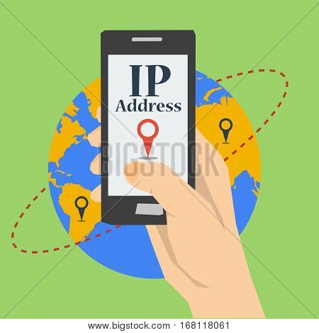 Vector flat square concept of IP address. Banner with mobile phone in hand with search pointer on screen on gliobe planet background