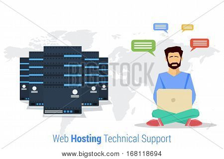 Vector concept of Web Hosting Technical Support. Web man administrator with computer and technical support in flat style