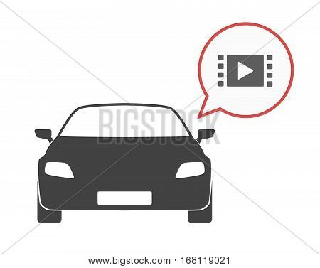 Isolated Car With A Multimedia Sign