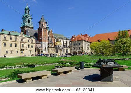 Inside of the Wawel royal castle and cathedral in Cracow Poland.