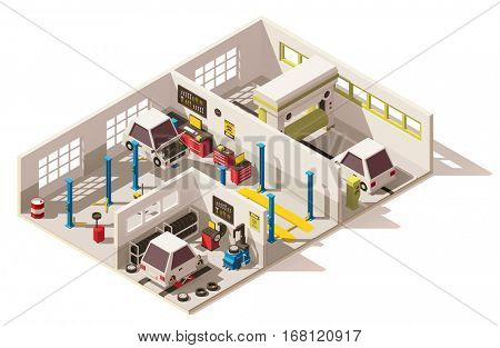 Vector isometric low poly car service center cutaway. Includes car on lift, tire service, car wash, automobile service equipment and tools