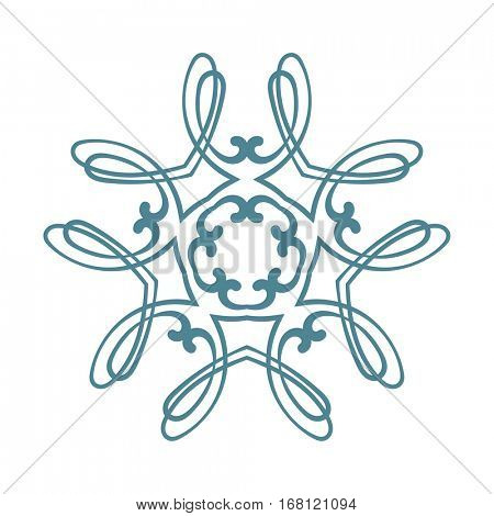 Pentagonal ornamental mandala, Isolated design element, Vector illustration
