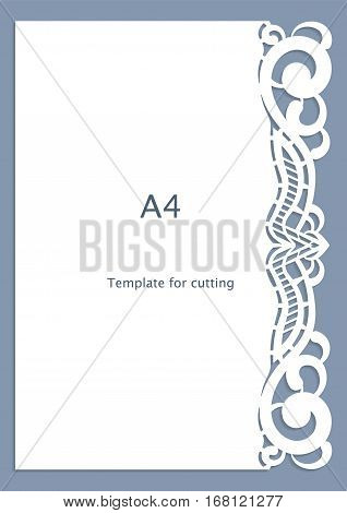 A4 paper lace greeting card wedding invitation cut-out template template congratulation perforation pattern laser cutting template vector