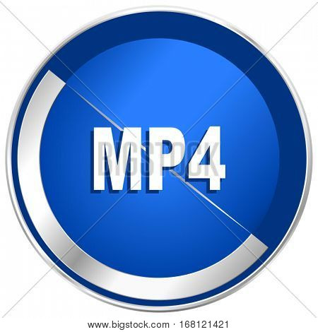 MP4 silver metallic web and mobile phone vector icon in eps 10.