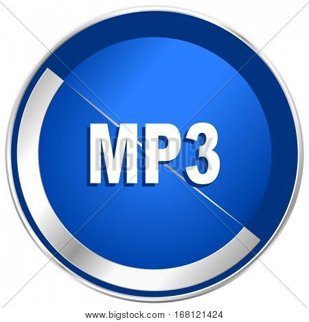 Mp3 silver metallic web and mobile phone vector icon in eps 10.