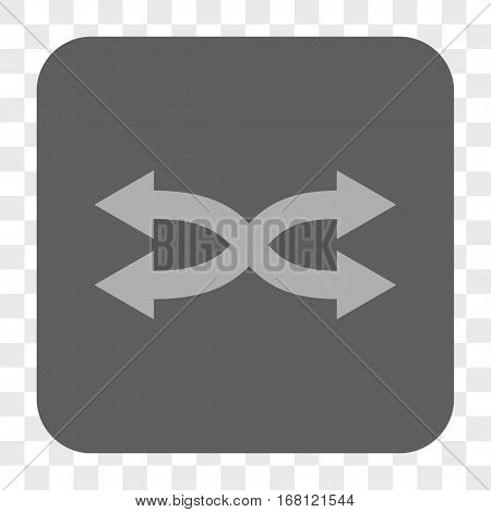 Shuffle Arrows Horizontal interface toolbar button. Vector icon style is a flat symbol on a rounded square button light gray and gray colors chess transparent background.