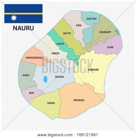 Nauru administrative and political vector map with flag