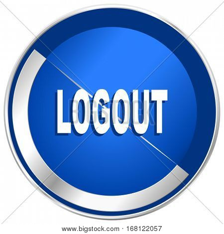 Logout silver metallic web and mobile phone vector icon in eps 10.