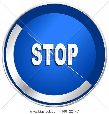 Stop silver metallic web and mobile phone vector icon in eps 10.