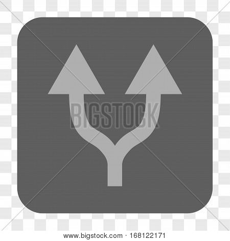 Split Arrows Up interface toolbar button. Vector icon style is a flat symbol in a rounded square button light gray and gray colors chess transparent background.