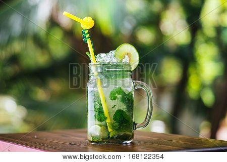 Mojito with ice on background tropics. Cold drink in the tropics