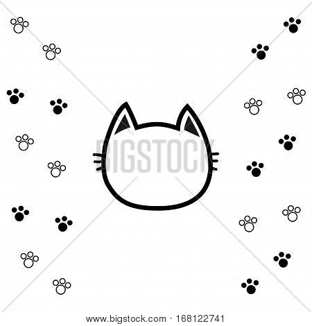 Black cat head face contour silhouette icon. Line pictogram. Empty temlate. Paw print track. Cute funny cartoon character. Kitty kitten whisker Baby pet. White background Isolated. Flat design. Vector