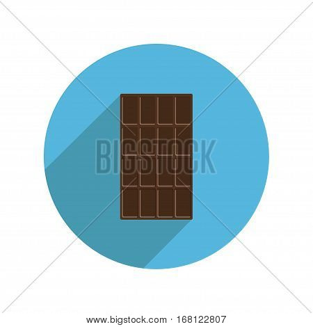 Round dark chocolate bar icon Long shadow. Tasty sweet food dessert. Rectangle shape Vertical piece. Modern simple style. Flat design. White background. Isolated. Vector