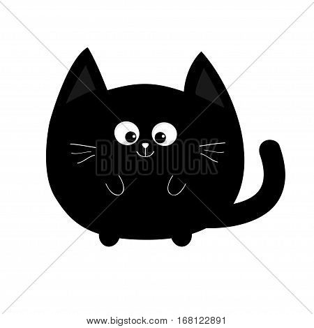 Round shape black cat icon. Cute funny cartoon smiling character. Kawaii animal. Tail whisker eyes. Happy emotion. Kitty kitten Baby pet collection. White background. Isolated. Flat design. Vector