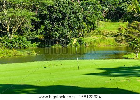 Golf Hole Green Water Pond.