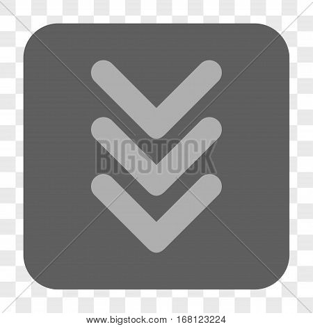 Triple Arrowhead Down interface toolbar button. Vector icon style is a flat symbol inside a rounded square button light gray and gray colors chess transparent background.