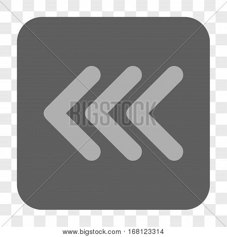 Triple Arrowhead Left interface toolbar button. Vector icon style is a flat symbol in a rounded square button light gray and gray colors chess transparent background.
