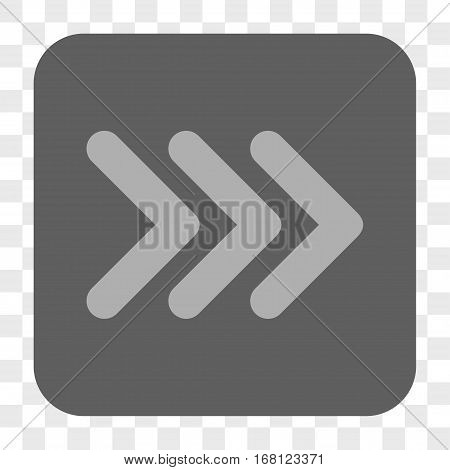 Triple Arrowhead Right interface toolbar button. Vector icon style is a flat symbol on a rounded square button light gray and gray colors chess transparent background.