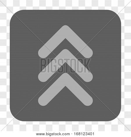 Triple Arrowhead Up interface toolbar button. Vector icon style is a flat symbol inside a rounded square button light gray and gray colors chess transparent background.