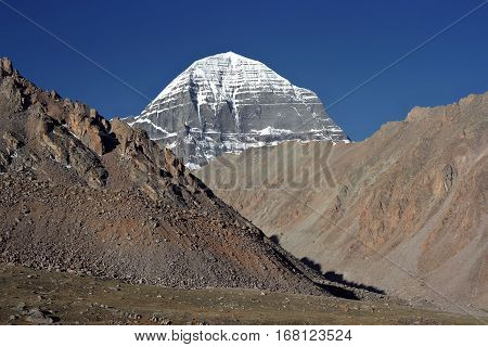 North-Eastern rib of sacred Mount Kailash in Western Tibet.