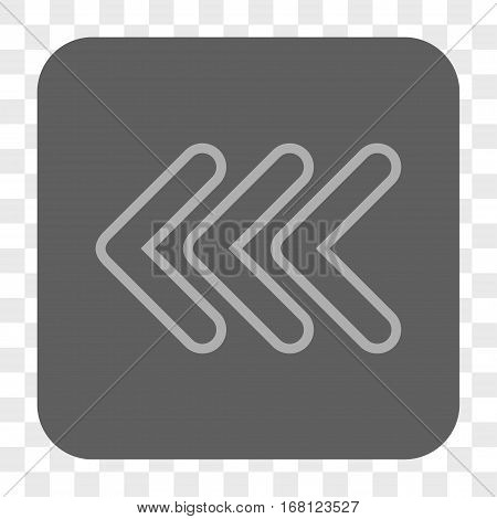 Triple Pointer Left interface toolbar button. Vector icon style is a flat symbol on a rounded square button light gray and gray colors chess transparent background.