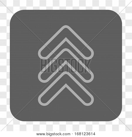 Triple Pointer Up interface toolbar button. Vector icon style is a flat symbol in a rounded square button light gray and gray colors chess transparent background.