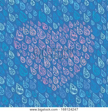 Ornate rain. Heart of raindrops. Vector illustration.