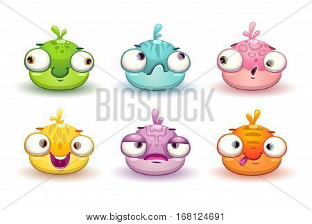 Funny colorful blob characters set. Vector cute baby alien icons, isolated assets for game design.