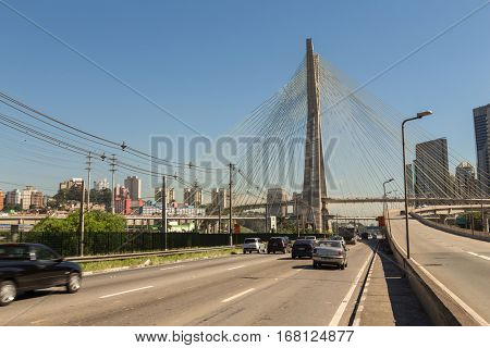 SAO PAULO, BRAZIL - CIRCA JAN 2016: Estaiada Bridge in Sao Paulo, Brazil