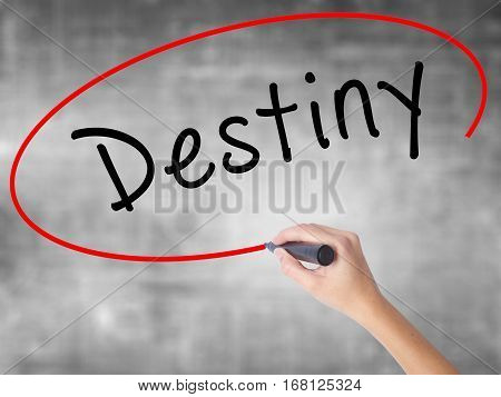 Woman Hand Writing Destiny Black Marker Over Transparent Board