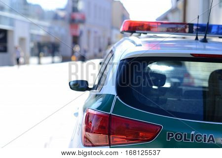 Staged photo with police car in Slovakia.
