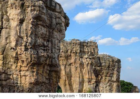 Mor Hin Khao The Stonehenge of Thailand with Blue Sky