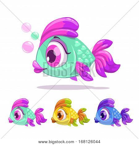 Cute cartoon little fish. Vector childish illustration.