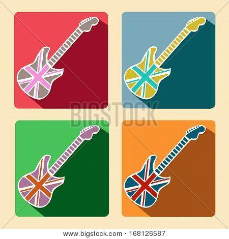 British Flag Guitar flat icons with long shadow Retro design