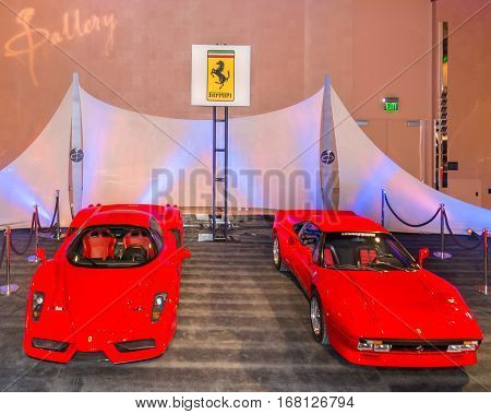 DETROIT MI/USA - JANUARY 11 2015: A Ferrari Enzo and a Ferrari 288 GTO at The Gallery an event sponsored by the North American International Auto Show (NAIAS) and the MGM Grand Detroit.