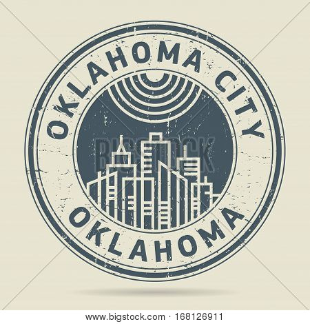Grunge rubber stamp or label with text Oklahoma City Oklahoma written inside vector illustration