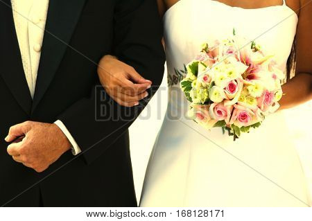 Bride and Father Arm in Arm
