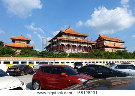 NONTHABURI, THAILAND- January 22:Wat Leng Noei Yi 2 Chinese temple architecture in Thailand on January 22, 2017 in Bang bua thong, Nonthaburi, Thailand.